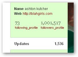 ashton kutcher 1 millón de seguidores