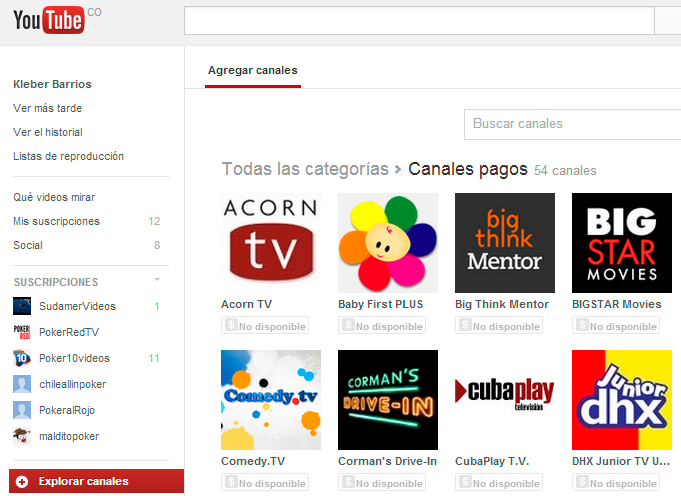 youtube canales pagos