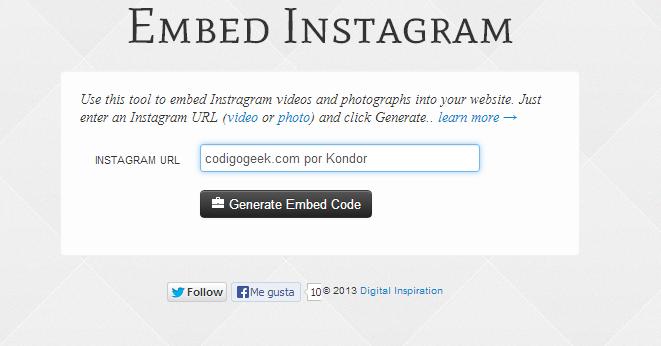 Embed Instagram codigo