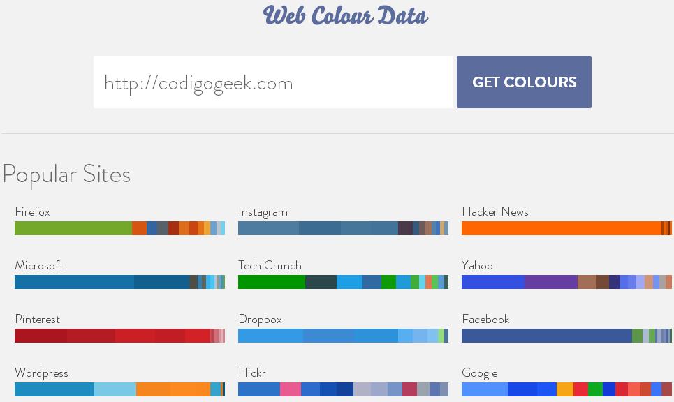 Saber los colores usados por una página web, Web Colour Data ...